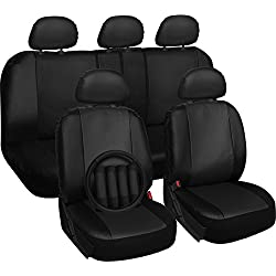OxGord 17pc PU Leather Solid Black Car Seat Cover Set - Airbag - Front Low Back Bucket - Universal Fit for Car, Truck, SUV, Van - Steering Wheel Cover