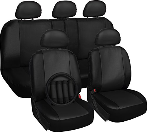 OxGord PU Leather Car Seat Cover Set - Airbag - Front Low Back Buckets - Universal Fit for Car, Truck, SUV, Van - Steering Wheel Cover and Seat Belt Cushion (Black, 17 piece set) -