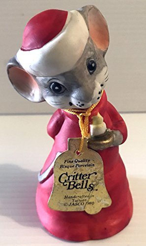 Vintage Jasco Critter Christmas Mouse Bell 1980 with Original Tag