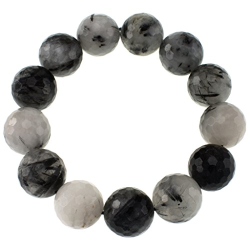 Faceted Bead Stretch Bracelet (Black Rutilated Quartz) ()
