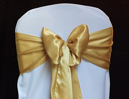MDS Pack of 200 satin chair sashes bow sash for wedding and Events Supplies Party Decoration chair cover sash ()