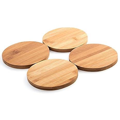 weiß Holzuntersetzer rund Topfuntersetzer Set 4 Stk Bambus Tischuntersetzer