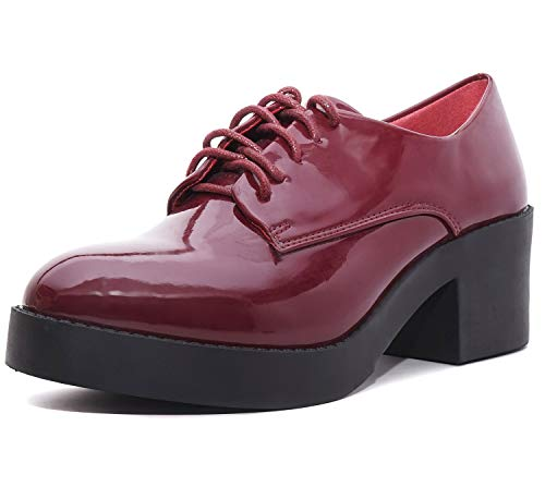 Charles Albert Women's Women's Platform Wedges Oxfords Classic Casual Lace Up Mid Heels Wingtips RoundToe Shoes (10, Wine)