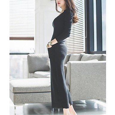 PU&PU Robe Aux femmes Gaine Simple,Couleur Pleine Col Arrondi Maxi Coton / Polyester , black , xl