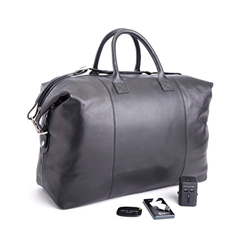 ROYCE Luxury Travel Set: Lightweight, Expandable Duffel Bag with Bluetooth-based Tracking Device for Locating Luggage, Portable Power Bank and International Adapter - - Overnight Best Tracking