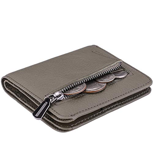 Itslife Women's Rfid Blocking Small Compact Bifold Leather Pocket Wallet Ladies Mini Purse with id Window (Natural Army Green) ()