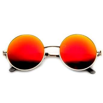 zeroUV - Mid Sized Metal Lennon Style Flash Mirror Round Sunglasses (Gold Fire)