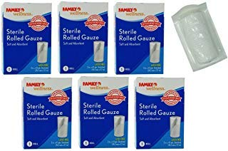 3 Inch Gauze - Sterile Rolled Gauze (6 Rolls - 3 in x 4.1 Yards Each) Latex Free Soft Absorbent Bandages 24.6 Yds T