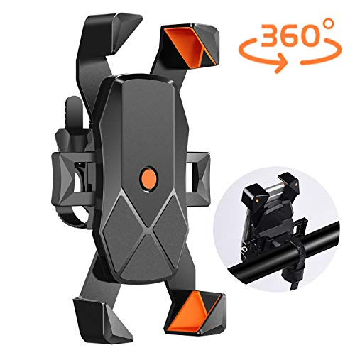 USION Bike Phone Mount, Universal Bicycle Stem Cell Phone Holder,Nylon Motorcycle Handlebar MountStable Cradle with 360° Rotation for iPhone Android GPS Other Devices from 4.7