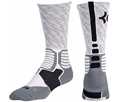 Nike KD Hyper Elite Crew Basketball Socks-White/Gray-Medium