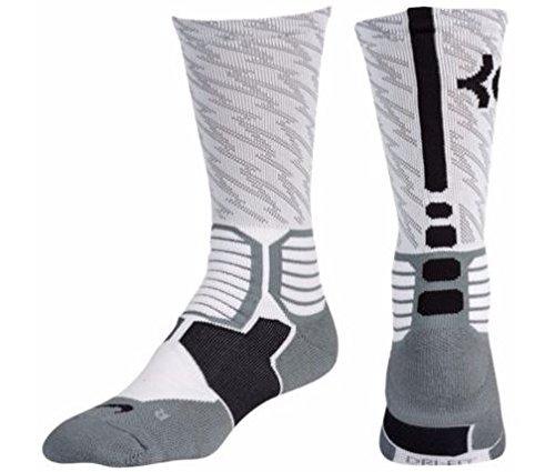 Nike Mens KD HyperElite Basketball Crew Socks White/Black Size Large - Basketball Mens Socks