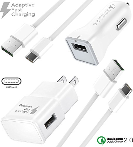 LG G6 Wall and Car Charger set with Type-C Cable by Boxgear. (1x Car Charger + 1x Wall Charger + 2x USB C Cable) - Rapid Fast Charging - LG V20 / LG V30 / LG G5 Up to 50% faster charging! by Boxgear
