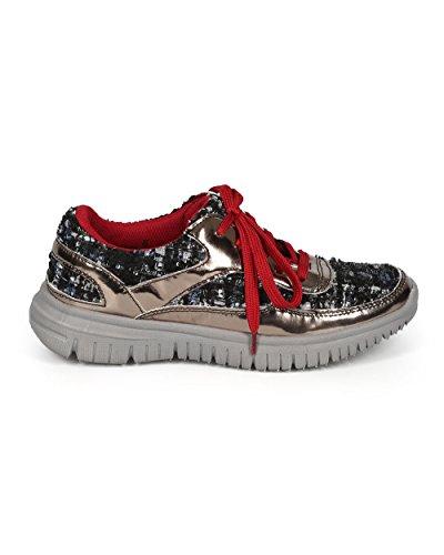 Dbdk Ci10 Dames Mixed Media Metallic Tweed Vetersluiting Fashion Sneaker - Metalen Tinnen