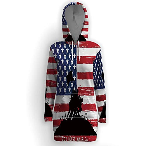 iPrint Hooded Tunic Sweatshirt with Pockets,American ()