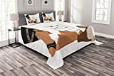 Lunarable Egyptian Bedspread Set Queen Size, Symbols of Egypt Pyramid Landmark Ancient Culture Elements Illustration, Decorative Quilted 3 Piece Coverlet Set with 2 Pillow Shams, Beige Black and Tan