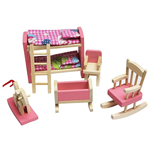Miniature Toy Wood (Super Cute Wooden Dollhouse Funiture Miniature Pink Wood Bunk Bed Set Toy Dollhouse Accessories for Kids Play House Game)