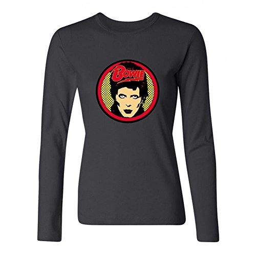 XIULUAN Women's David Bowie Heavy Metal Logo Long Sleeve T-shirt Size L (Palin Womens Long Sleeve)