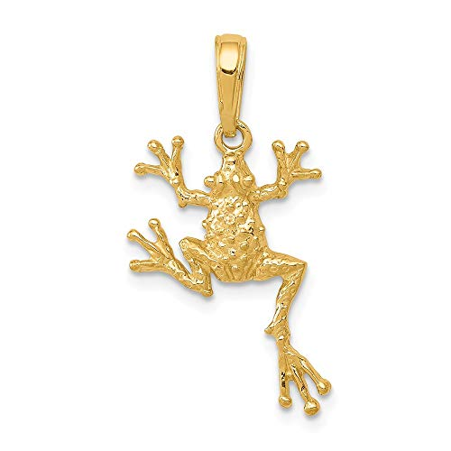 14k Yellow Gold Solid Frog Pendant Charm Necklace Animal Man Fine Jewelry Gift For Dad Mens For Him