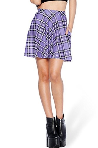 ASHER FASHION Womens Summer Plus Size Stretchy Plaid Print Pleated Mini Skirts (Large, Purple)