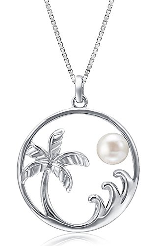 Sterling Silver Freshwater Pearl Palm Tree Wave And Moon Necklace Pendant With 18