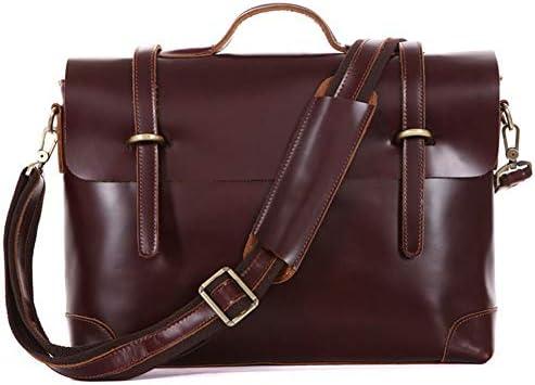 LYHLYH Aktentaschen aus Leder für Männer Laptop-Beutel-Kurier-Beutel-Computer Umhängetasche Wasserdicht Weinlese-Handtasche für Reisebüros 15,6 Zoll