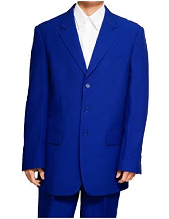 New Men's 3 Button Single Breasted Royal Blue Dress Suit,Royal,40 Short