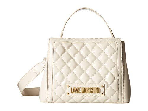 LOVE Moschino Women's Shiny Quilted Handbag Ivory One Size ()
