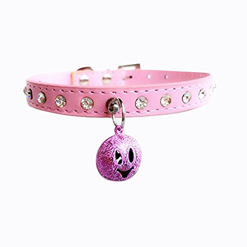 Vvhome Single Row Bling Rhinestone Crystal Studded with Cute Smiling Bell PU Collars for Small Dogs Cats (Pink, XXS)
