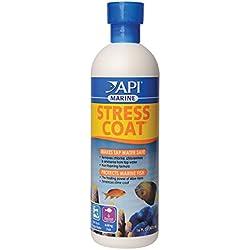 API MARINE STRESS COAT Saltwater Aquarium Water Conditioner 16-Ounce Bottle