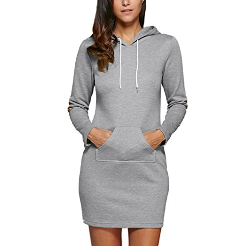 FAPIZI ♥ Women Dress ♥ Womens Casual Hoody Hoodie Sweatshirt Hooded Sweater Ladies Pullover Jumper Coat (L, Gray)