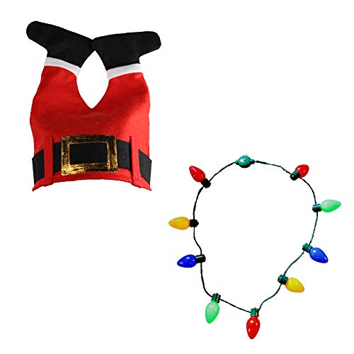 Christmas Red Santa Legs Pant Hat and LED Light-up Bulb Necklace for Ugly Sweater Christmas Xmas Holiday -