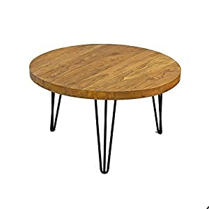 WELLAND Rustic Round Old Elm Wooden Coffee Table Unfinished