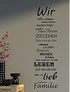 Wandtattoo Spruch Familie Family WIR Haus Liebe Sprüche Spruch Ca.75x25cm  B387 (schwarz)