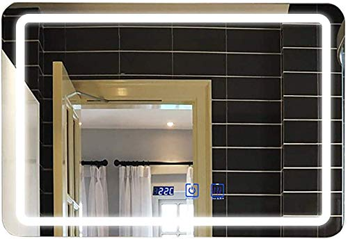 H.yina Rectangular Led Smart Touch Bathroom Light Mirror Vanity Mirror Wall-Mounted Hotel -