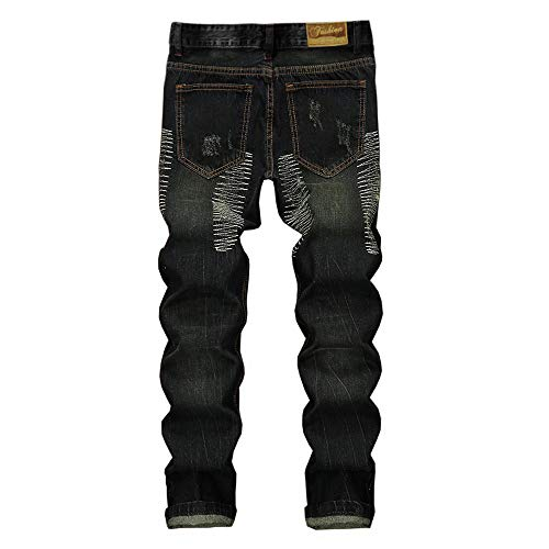 180ae0edd7a Creazrise Men's Ripped Distressed Destroyed Straight Fit Washed Denim Jeans  (Green,XL)