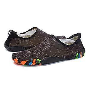 WQINSHOE Men and Women's Barefoot Quick-Dry Aqua Socks Lightweight shoes with Drainage Hole Black 39