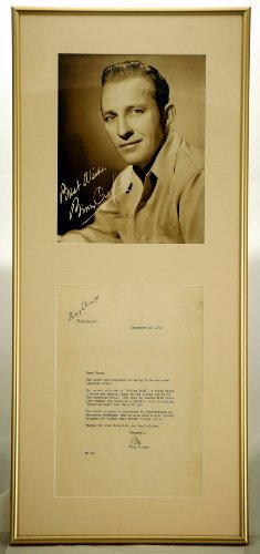 Custom Gold Metal Frame & Matted - Bing Crosby Typed & Signed Letter on Letterhead - Dated 1950 - w/ 8x10 Vintage Fan Photo - Measures 11x25 Inches - Very Rare - Collectible