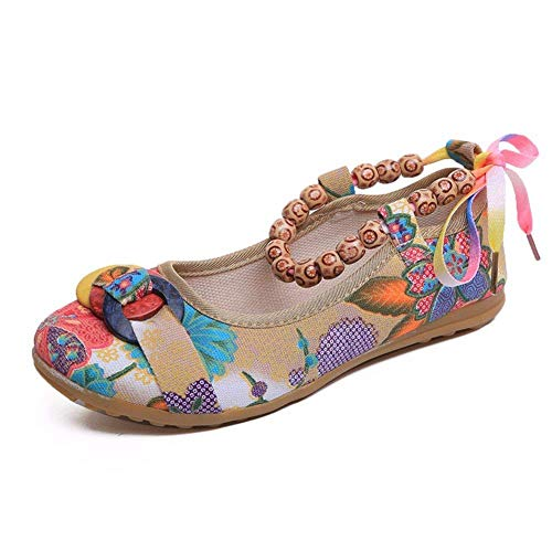Bandage Da Scarpe Deed Retro un Handmade 38 39 Beads 's Eu Eu Donna Shoes T85ddqFxw