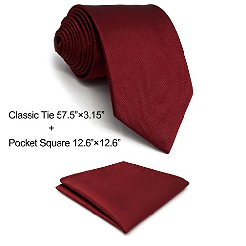 Tie Squares (Shlax&Wing Solid Color Red Burgundy Wedding Neckties For Men Classic Ties Fashion 57.5