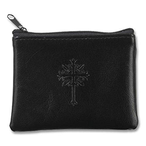 Fleur De Lis Cross on Genuine Leather Rosary Case with Zipper Closure, Black