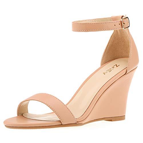 ZriEy Women's Ankle Strap Buckle Mid Wedge Platform Heeled Sandals 8CM Summer Dress Sandals Pump Shoes Nude Size 8