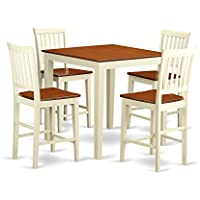 East West Furniture VERN5-WHI-W 5-Piece Counter Height Table Set