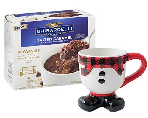 Christmas Mug Snowman Design with Ghirardelli Salted Caramel Brownie Mug Mix Gift Set, 16 oz, Burton and ()