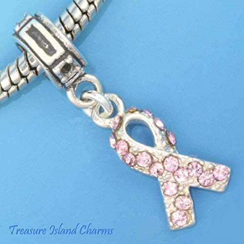 Breast Cancer Awareness Pink Crystal Awareness Ribbon .925 Solid Sterling Silver European Dangle Bead Charm
