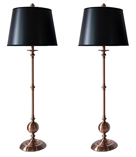 Urbanest Set of 2 Bastille Buffet Lamps in Copper with Black with Silver Foil Liner Shades (Finials Lamp Copper)