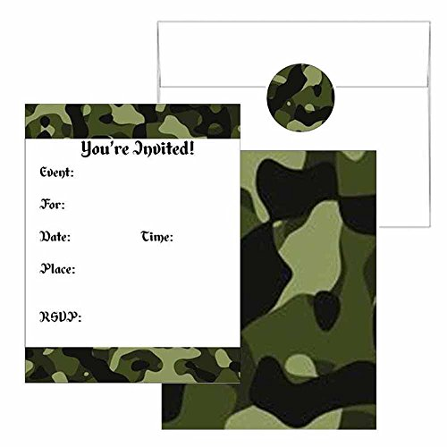 (Camouflage Print Invitations - Camo Theme Party Supplies - Any Occasion or)