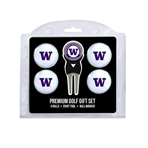 (Team Golf NCAA Washington Huskies Regulation Size Golf Balls (4 Count) & Divot Tool with Removable Double-Sided Magnetic Marker)