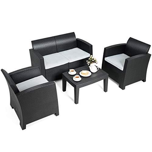 Tangkula 4 Piece Patio Furniture Set, Rattan Table Chair Set, Modern Wicker Rattan PE Conversation Sectional Sofa Set w/Removable Cushion, Outdoor Indoor Use Sectional Yard Furniture Set, Black