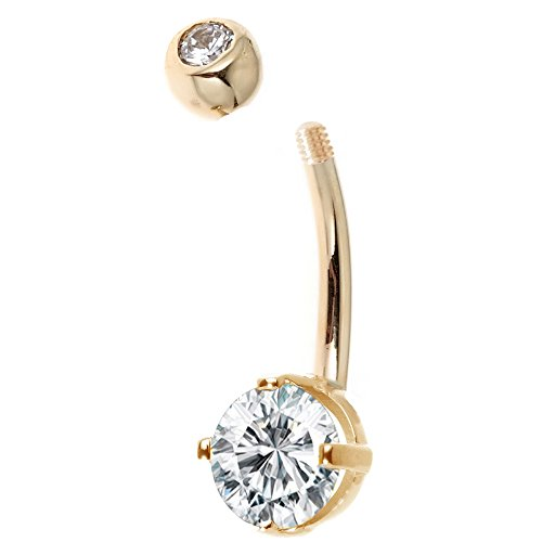 Ritastephens 14k Solid Gold Belly Button Top Bottom Cubic Zirconia Navel Barbell Ring (yellow-gold) by Ritastephens (Image #1)