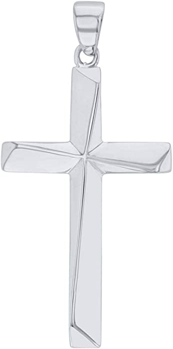 Solid 14K Yellow Gold Elegant Religious Plain Cross Pendant Necklace